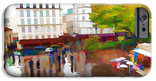 Rainy Day iPhone Cases - A Rainy Day in Paris iPhone Case by Allan Van Gasbeck