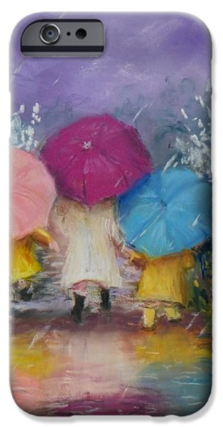 Jack Skinner iPhone Cases - A Rainy Day Stroll with Mom iPhone Case by Jack Skinner