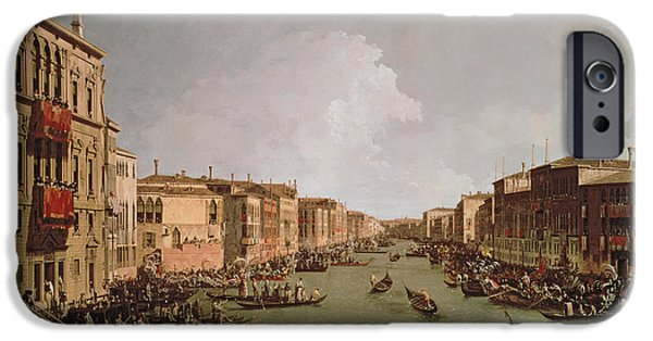 Regatta iPhone Cases - A Regatta on the Grand Canal iPhone Case by Antonio Canaletto