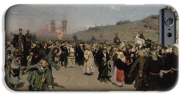 Crowd iPhone Cases - A Religious Procession In The Province Of Kursk, 1880-83 Oil On Canvas iPhone Case by Ilya Efimovich Repin