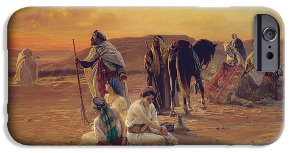 Slave Paintings iPhone Cases - A Rest in the Desert iPhone Case by Otto Pilny