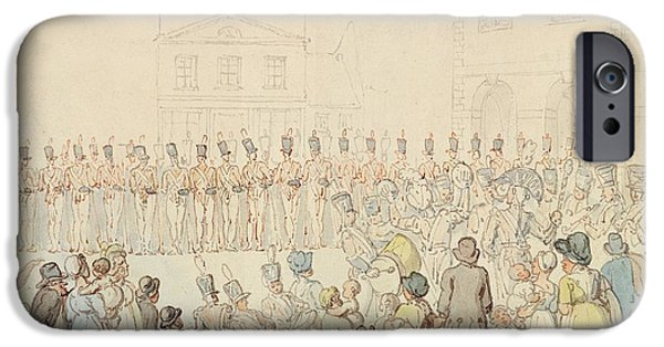 Regiment iPhone Cases - A Review Of The Northamptonshire Militia At Brackley, Northants Pen & Ink With Wc On Paper iPhone Case by Thomas Rowlandson
