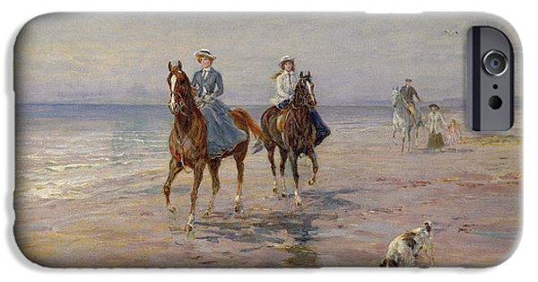 Sea iPhone Cases - A Ride On The Beach, Dublin iPhone Case by Heywood Hardy
