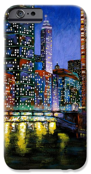 Chicago Paintings iPhone Cases - A River Runs Through It iPhone Case by J Loren Reedy