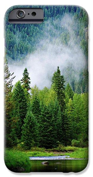 Log Cabin Digital iPhone Cases - A River Runs Through It  iPhone Case by Joseph Noonan
