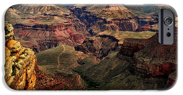 Grand Canyon Digital Art iPhone Cases - A River Runs Through It-The Grand Canyon iPhone Case by Tom Prendergast