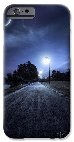 Night Lamp iPhone Cases - A Road In A Park At Night Against Moon iPhone Case by Evgeny Kuklev