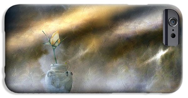 Storm Prints Mixed Media iPhone Cases - A Rose On The Plain iPhone Case by Georgiana Romanovna