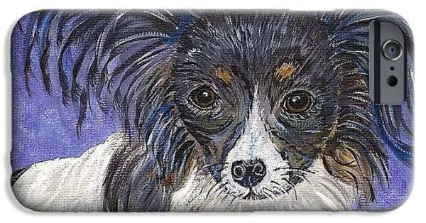 Puppy Love Greeting Cards iPhone Cases - A Royal Papillon iPhone Case by Ella Kaye Dickey