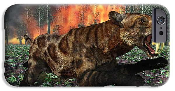 The Tiger iPhone Cases - A Saber-toothed Tiger Running Away iPhone Case by Mark Stevenson