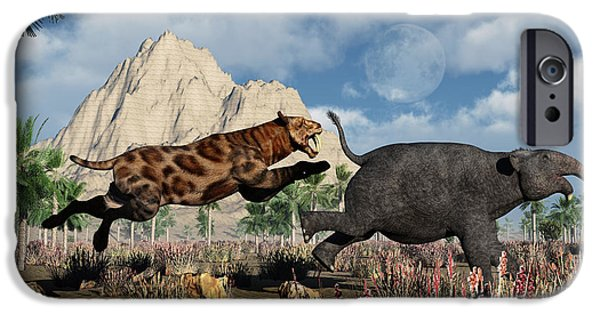 The Tiger iPhone Cases - A Sabre-tooth Tiger Attacking A Young iPhone Case by Mark Stevenson