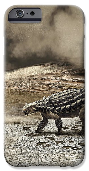 A Saichania Chulsanensis Dinosaur iPhone Case by Roman Garcia Mora