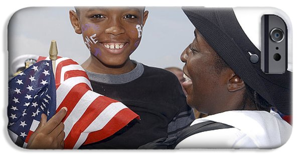 At Arrivals iPhone Cases - A Sailor Rejoices After Being Reunited iPhone Case by Stocktrek Images