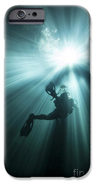 Devil Ray iPhone Cases - A Scuba Diver Ascends Into The Light iPhone Case by Michael Wood