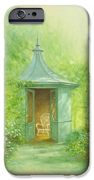 Shed iPhone Cases - A Seat in the SUmmerhouse iPhone Case by Garry Walton