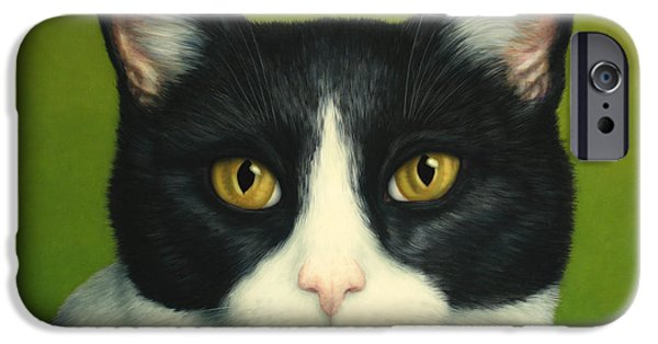 Feline iPhone Cases - A Serious Cat iPhone Case by James W Johnson