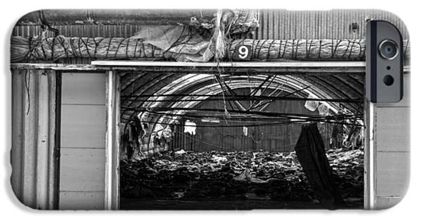 Shed iPhone Cases - A shed in an abandoned mushroom farm BW iPhone Case by RicardMN Photography