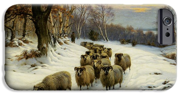 Wright Barker iPhone Cases - A Shepherd And His Flock iPhone Case by Wright Barker