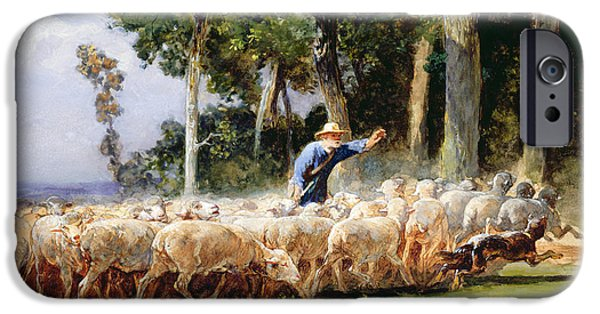 Pastoral iPhone Cases - A Shepherd With A Flock Of Sheep iPhone Case by Charles Emile Jacques