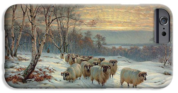 Snowy Evening iPhone Cases - A shepherd with his flock in a winter landscape iPhone Case by Wright Baker
