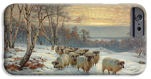 Wright Barker iPhone Cases - A Shepherd with his Flock in a Winter Landscape iPhone Case by Wright Barker