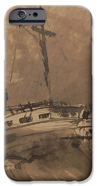 Boats In Water iPhone Cases - A Ship in Choppy Seas iPhone Case by Victor Hugo