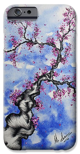 Cherry Blossoms Drawings iPhone Cases - A Simple Blossom iPhone Case by Michael  Aucoin