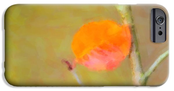 Copy Mixed Media iPhone Cases - A single autumn leaf iPhone Case by Toppart Sweden