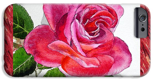 Important Paintings iPhone Cases - A Single Rose Juicy Pink  iPhone Case by Irina Sztukowski
