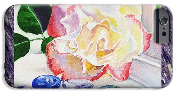 Single Paintings iPhone Cases - A Single Rose Mable Blue Glass iPhone Case by Irina Sztukowski