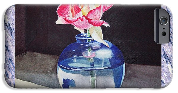 Single Paintings iPhone Cases - A Single Rose Mable Blue iPhone Case by Irina Sztukowski