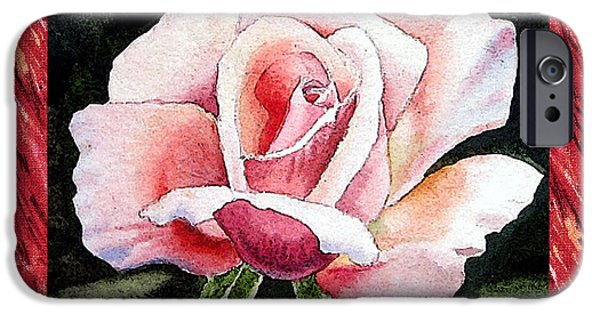 Single Paintings iPhone Cases - A Single Rose Mellow Pink iPhone Case by Irina Sztukowski
