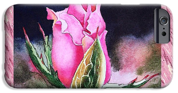 Single Paintings iPhone Cases - A Single Rose Pink Beginning iPhone Case by Irina Sztukowski