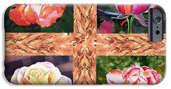 Important Paintings iPhone Cases - A Single Rose Quartet  iPhone Case by Irina Sztukowski