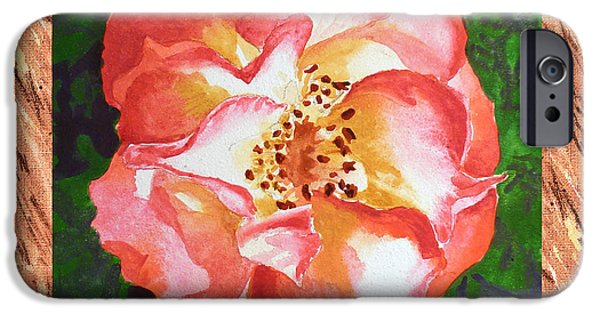 Important Paintings iPhone Cases - A Single Rose The Dancing Swirl  iPhone Case by Irina Sztukowski