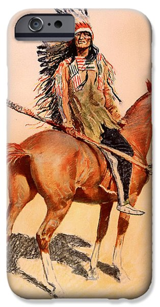 Concept Paintings iPhone Cases - A Sioux Chief iPhone Case by Remington