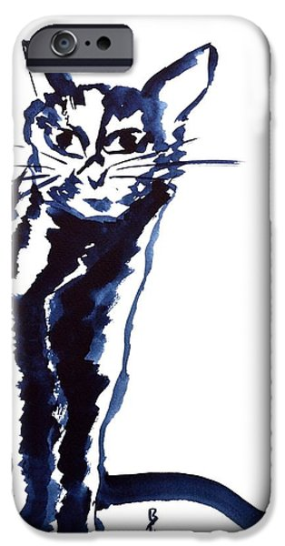 Spirit Cat Essence iPhone Cases - A Sketchy Cat iPhone Case by Beverley Harper Tinsley