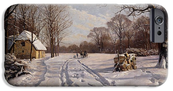 Snowy Day Paintings iPhone Cases - A Sleigh Ride through a Winter Landscape iPhone Case by Peder Monsted