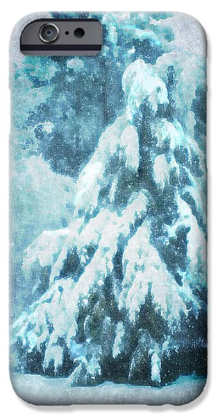 Snowy Night iPhone Cases - A Snow Tree iPhone Case by ARTography by Pamela  Smale Williams