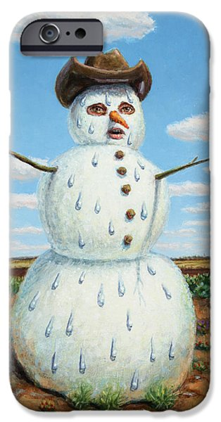 Xmas iPhone Cases - A Snowman in Texas iPhone Case by James W Johnson