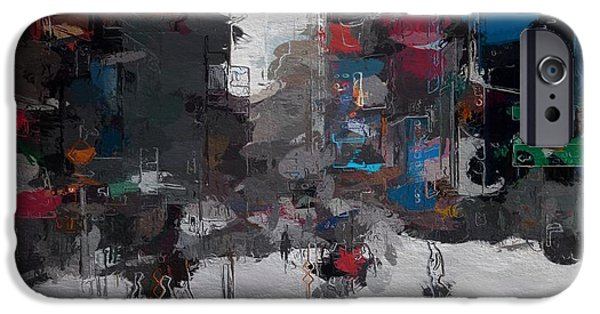 Snowy Mixed Media iPhone Cases - A snowy day in New York City iPhone Case by Stefan Kuhn
