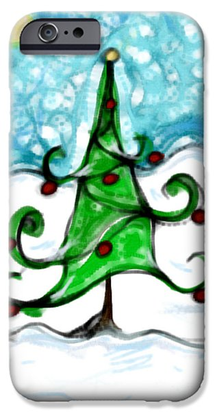 Snowy Pastels iPhone Cases - A snowy little tree iPhone Case by Susan George