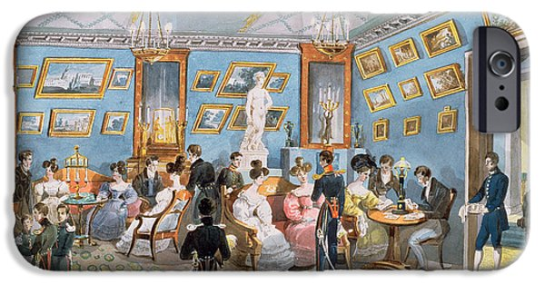 Gathering Photographs iPhone Cases - A Society Drawing Room, C.1830 Wc On Paper iPhone Case by Karl Ivanovich Kolmann