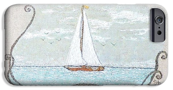 Sailboats Pastels iPhone Cases - A soft sail iPhone Case by Stephanie Callsen