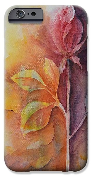 Garden Ceramics iPhone Cases - A Solitary Rose iPhone Case by Kathleen Pio