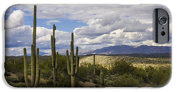 Rainy Day iPhone Cases - A Sonoran Winter Day  iPhone Case by Saija  Lehtonen