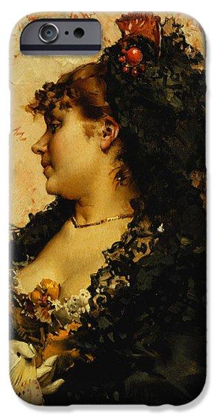 Balck Art iPhone Cases - A Spanish Beauty iPhone Case by Frederik Hendrik Kaemmerer