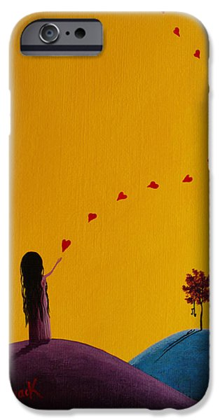 Floating Girl Paintings iPhone Cases - A Special Gift Is On The Way iPhone Case by Shawna Erback