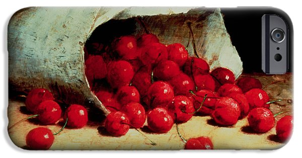Nineteenth Century iPhone Cases - A Spilled Bag of Cherries iPhone Case by Antoine Vollon