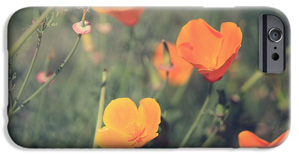 California Poppies iPhone Cases - A Springtime Breeze iPhone Case by Laurie Search